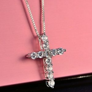 Jewelry - Diamond Cross Sterling Silver Chain Necklace